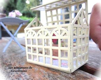 New Miniature greenhouse - scale 1:12- Dollhouse miniatures