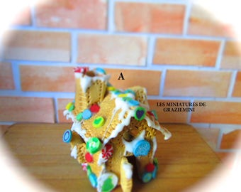 Miniature gingerbread house -Scale 1:12- Dollhouses miniatures