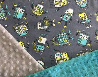 Personalized Minky Baby Blanket, Cute Grey Robots Minky Baby Blanket- Robots