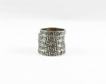 Silver Ring, Sterling Silver Ring, Greek Ring, Silver Band, Patterned Band, Patterned Ring