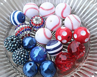 Baseball DIY Bubblegum Necklace Kit | DIY Chunky Necklace Kit | Softball Necklace Kit | Chunky Bead Necklace Supplies
