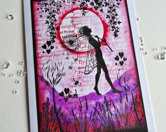 Pink fairy card,faerie card,fairy birthday card,fairy artwork,Magical card,magical artwork