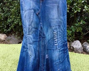 Upcycled, embelished blue distressed denim maxi skirt size 18