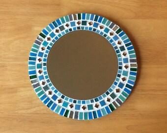 Mosaic Mirror In Turquoise, Teal, Grey U0026 Silver   Round Wall Mirror    Bathroom
