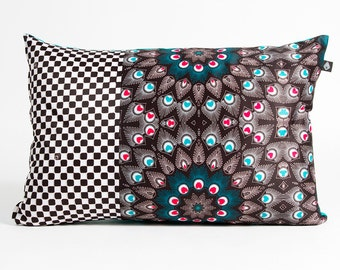 Rectangle cushion 40 x 60 cm motif Peacock manufactured in France and hand
