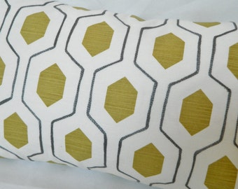 Kravet Everson by Thom Filicia - Decorative Lumbar pillow Cover with  Embroidered Geometric Pattern / Both Sides Linen