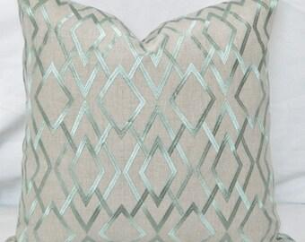 Robert Allen-Angel Lane Aloe- Decorative Lumbar pillow Cover with  Embroidered Geometric Pattern / Linen