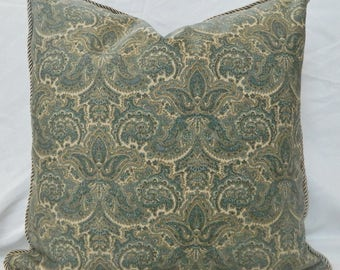 RALPH LAUREN-Bronte Paisley in Bay Decorative Throw Pillow Cover, Lumbar pillow, Accent pillow cover / Decorative Trim Corded / Both Sided