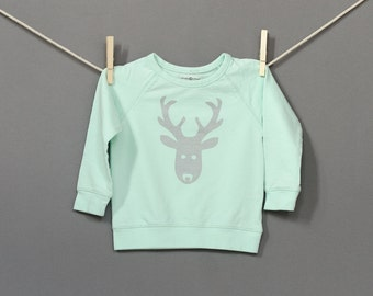 Organic Cotton Deer Sweatshirt in Mint with Silver Glitter / Limited Edition / 12-18, 18-24 Months