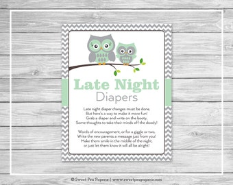 Owl Baby Shower Late Night Diapers Sign - Printable Baby Shower Late Night Diapers - Green Owl Baby Shower - Late Night Diaper Sign - SP137