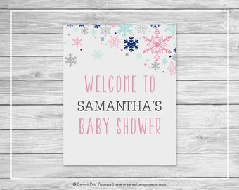 Winter Baby Shower Welcome Sign - Printable Baby Shower Welcome Sign - Baby It's Cold Outside Baby Shower - Welcome Sign - EDITABLE - SP141
