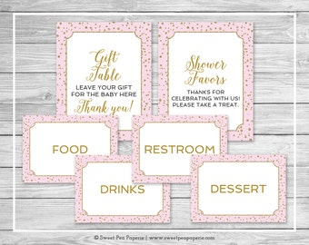 Pink and Gold Baby Shower Table Signs - Printable Baby Shower Table Signs - Pink and Gold Baby Shower - Table Signs - EDITABLE - SP145