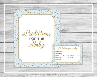 Blue and Gold Baby Shower Predictions for Baby - Printable Baby Shower Predictions for Baby - Blue and Gold Confetti Baby Shower - SP146