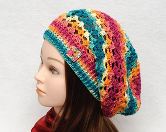 Wife Gift for Womens Hats Crochet Hat Slouchy Hat Slouchy Beanie Spring Hat Fall hat Womens Beanies Womens Accessories women Rasta clothing