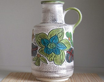 Vintage SCHEURICH Keramik Floor Vase WEST GERMAN Pottery Model 408-40, Mid Century Modern Art Pottery Fat Lava Era, Retro Home Décor