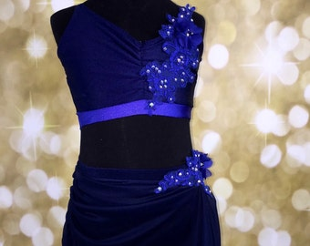 Lyrical Dance Costume, SALE blue lyrical dance costume, Lyrical  Dance Costume, Custom Dance Costume, dance costume for competition