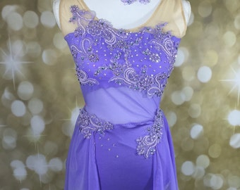 lyrical dance costume, custom dance costume, competition dance costume ,lilac dance costume, dance costume