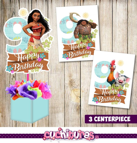 May The Fourth Be With You Wedding Favors: 3 Moana Centerpieces Moana Printable Centerpieces Moana 9th