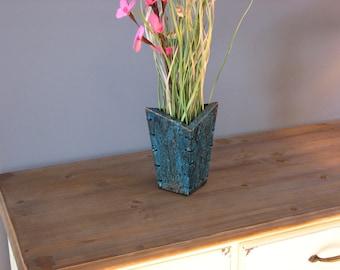 Copper Flower Vase - Deep Blue Patina