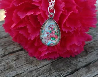 Silver Paisley Charm Necklace Floral Pattern Design Handmade Designer Fashion Jewelry