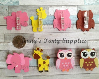 Set Of 12 Baby Shower Safari Pins, Elephant Giraffe And Owl Clothespins