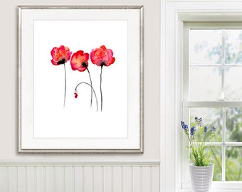 Red Poppies Watercolor Painting Poppy Print, Home Decor, Wall Art - 33