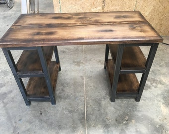 Wood and steel rustic desk