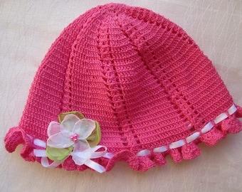 Ready to ship! Pink crochet summer hat, Hand made baby clothes, Summer hat, organza flower, croschet accessories, romantic flower hat