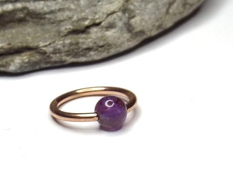Amethyst Rose Gold Plated Cartilage Hoop Earring Captive Bead Ring Nose Ring Septum Ring 16 gauge
