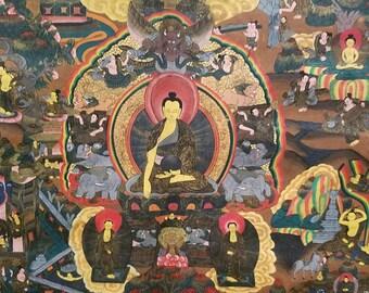 A Very Fine Antique Tibetan Thanka Detailing the Life of Buddha, Strange Imports