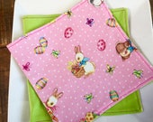 Kid's Easter Napkins, Reversible Lunchbox Set of 2. Bunnies, Easter Baskets, Eggs. Pink & White Polka Dots with Spring Green.  Reusable.