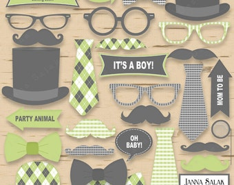 Printable Little Man Photo Booth Props Baby Shower Grey and Green Pdf DIY INSTANT DOWNLOAD LM006