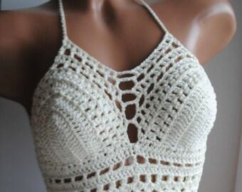 Crochet halter top, cream crochet top, crochet bikini top