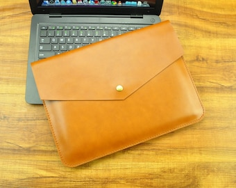 Leather laptop sleeve, Yellow Leather case, Macbook case, 13 inch laptop case, Macbook Air case 13, Macbook Pro sleeve
