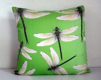 LIME Green pillow cover,DRAGONFLY art,lime green pillow,Dragonfly print,insect art,eco friendly organic cotton,decorative pillow,43cm x 43cm