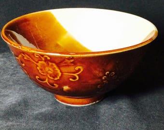 Brown and White Ceramic Rice Bowl