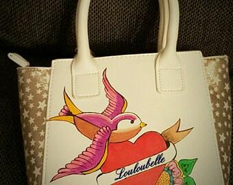 Rockabilly tattoo style hand bag, tattoo purse, rockabilly purse, swallows handbag, pin up purse, vintage purse, painted bag