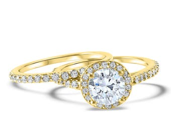 Yellow Gold Diamond Halo wedding set Forever ONE round moissanite round center stone Rose Gold wedding set -  halo engagement ring set