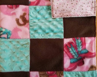 """30"""" x 40"""" Brown, pink, teal Cowgirl Fleece with pink and brown dotted print Flannel Baby Blanket. Horseshoes, cowgirl boots, saddles & stars"""
