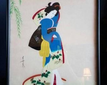 Silk painting // Geisha painting on silk // Japanese //