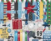 Swim Team digital scrapbook kit with goggles, swim cap, lap counter, stopwatch, flair, word art, award ribbon, journal card in primary color