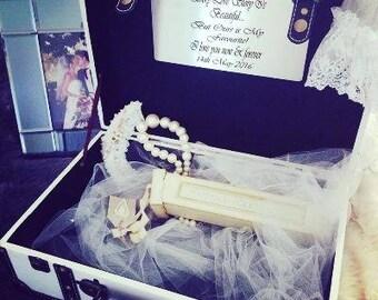 Personalised & Engraved, Vintage-Style Suitcase, Wedding Keepsake Box, Rustic Wedding Card Box, Shower Gift, Engraved Wedding Gift