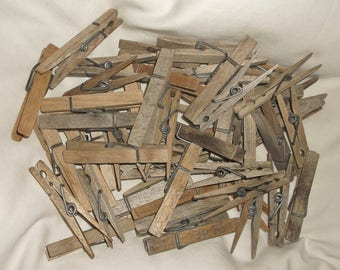 50 Old Simple Worn Wooden Clothespins • authentic age patina