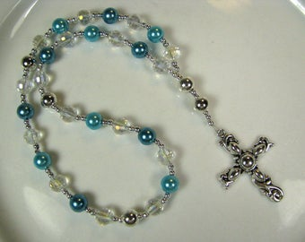 Anglican Prayer Beads-Rosary-Turquoise-Clear Crystal-with Silver Cross