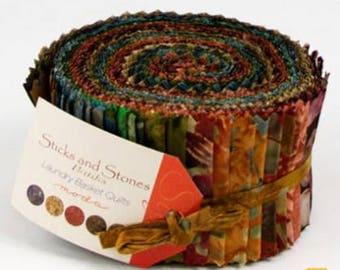 "Moda 2-1/2"" Jelly Roll strips from Sticks & Stones Batiks fabrics"