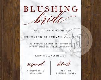 Bridal Shower Invitation, Elegant Wedding Invitation, Marble Wedding Invitation,  Formal Wedding Invite, Modern Wedding Invitation