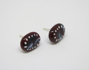 Fused handpainted glass earrings