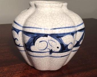 Dedham Pottery pumpkin vase
