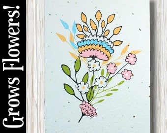 GROWS WILDFLOWERS! - Floral sketch - Plant the Card - 100% recycled - #FR014