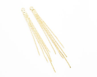 Gold Metal Tassel . Gold Chain Tassel . Brass Tassel . Wedding Jewelry . 16K Polished Gold Plated over Brass - 2pcs / HG0001-PG